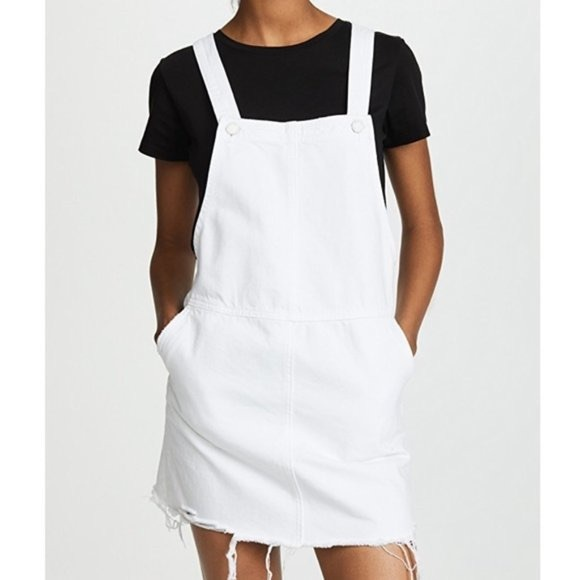 BLANK NYC WHITE RAW EDGE OVERALL DRESS 26 NEW